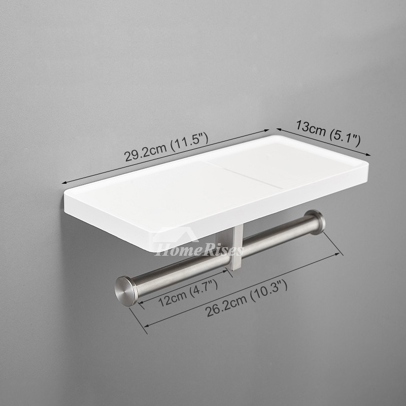 Modern White Toilet Paper Holder With Shelf Bathroom