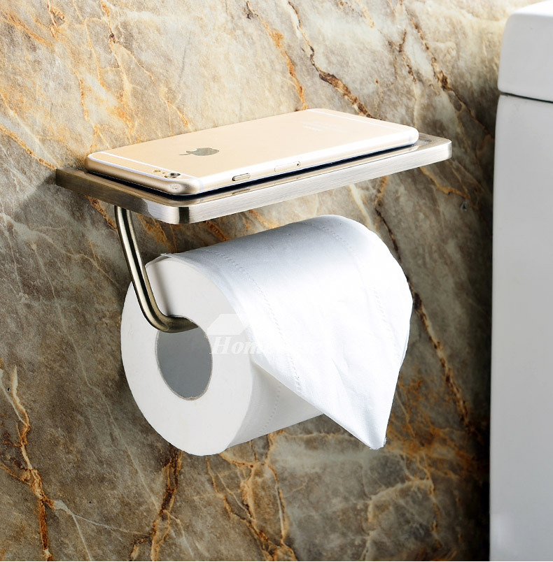 Toilet Paper Holder With Shelf Brushed Stainless Steel