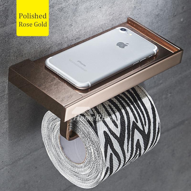 modern silver wall mount toilet paper holder with shelf brass black. Black Bedroom Furniture Sets. Home Design Ideas