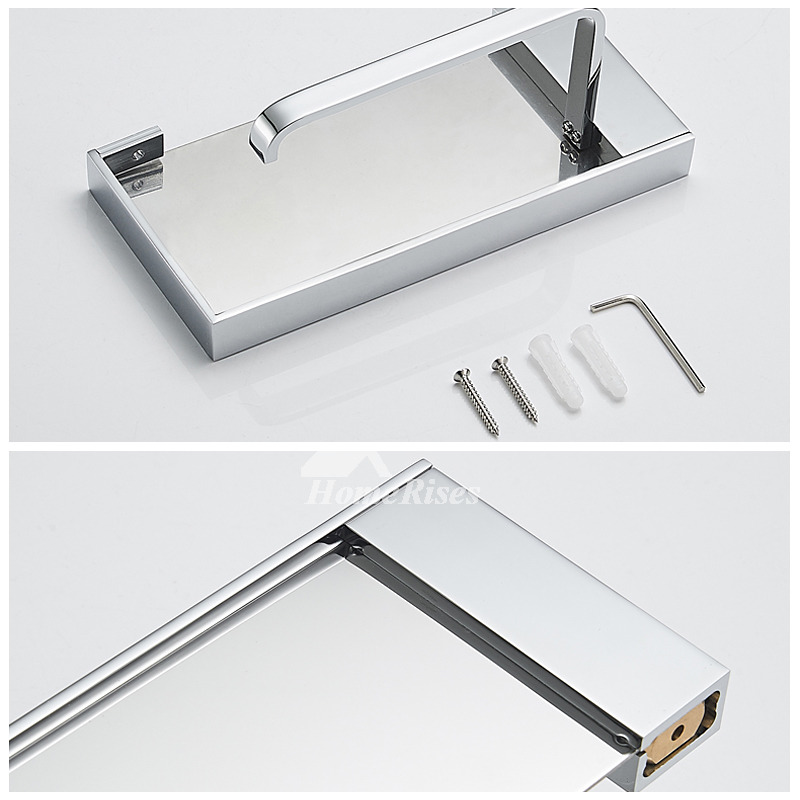 Modern Silver Wall Mount Toilet Paper Holder With Shelf