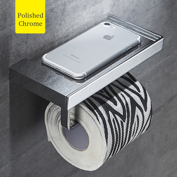 Modern Silver Wall Mount Toilet Paper Holder With Shelf Brass Black