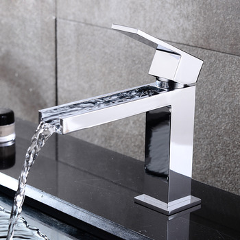 Simple Brass Chrome Waterfall Unique Bathroom Faucets Silver