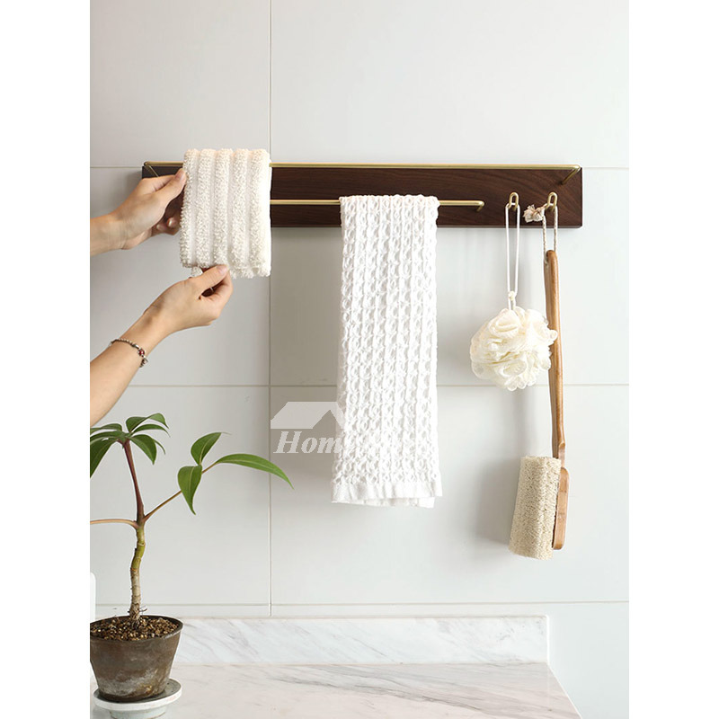Wooden Towel Racks Wall Mounted Bathroom Hotel Brass Outdoor