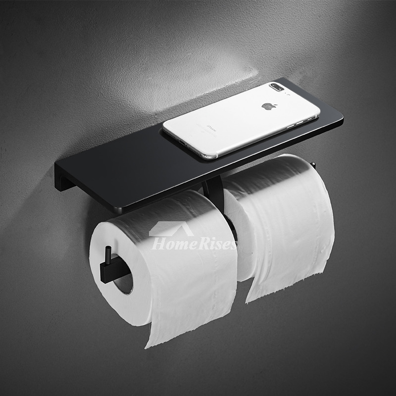Black Toilet Paper Holder Double Single Wall Mount Unique