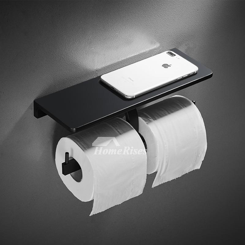 Black Toilet Paper Holder Double Single