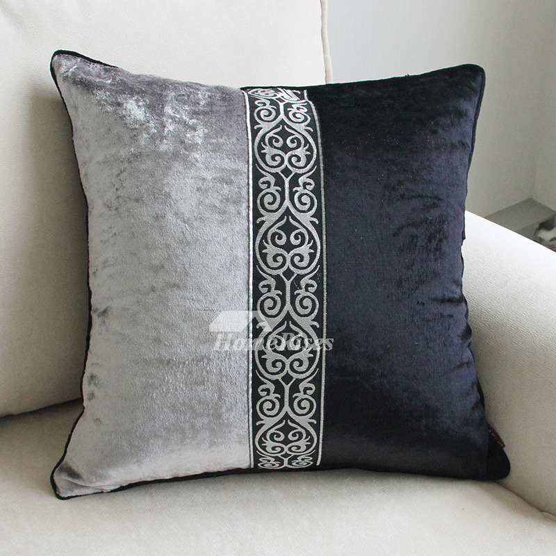 Cheap Throw Pillows Black Gray Decorative Polyester Unique