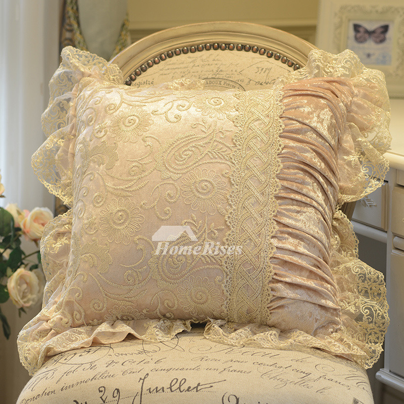 decorative pillow covers lace yellow cream white velvet pillow core not included. Black Bedroom Furniture Sets. Home Design Ideas