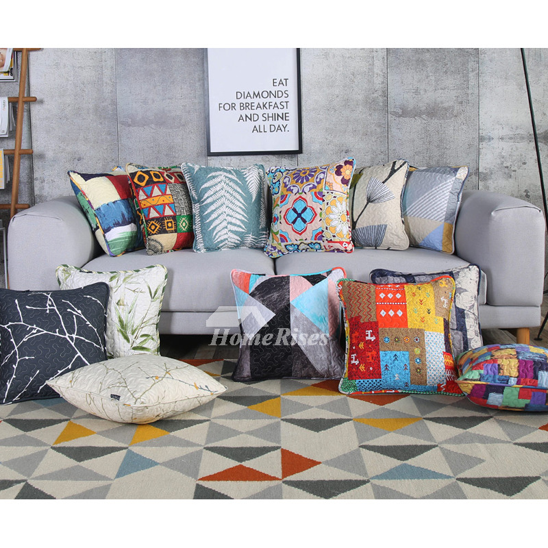 Modern Decorative Pillows For Couch Cotton Large Colored Aqua Pillow Core Not Included