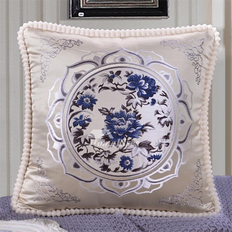 Vintage Pillows: Vintage Square Decorative Couch Pillows Burgundy/Cream
