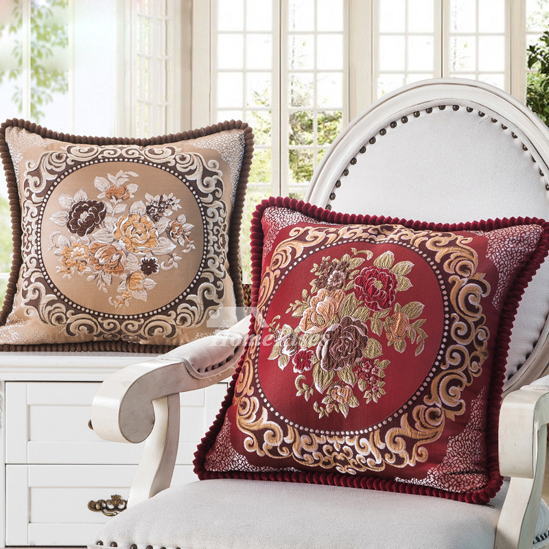 Red Couch Pillows Square Brown Cream