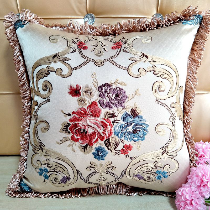 Astounding Large Couch Pillows Square Blue Cream Brown Polyester Pillow Core Not Included Caraccident5 Cool Chair Designs And Ideas Caraccident5Info