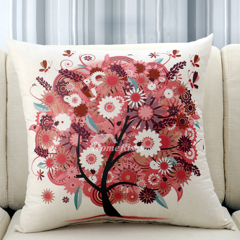 Decorative Throw Pillows For Couch Cream/Red Polyester Square (Pillow Core  Not Included)