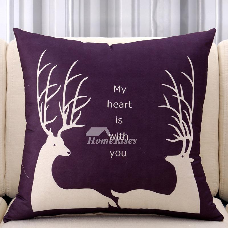 Purple Decorative Pillows Cream Square Polyester Animal