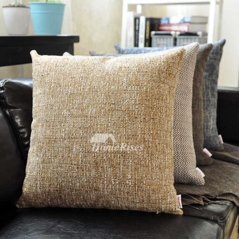 Decorative Couch Pillows Linen Square Brown Blue Pillow