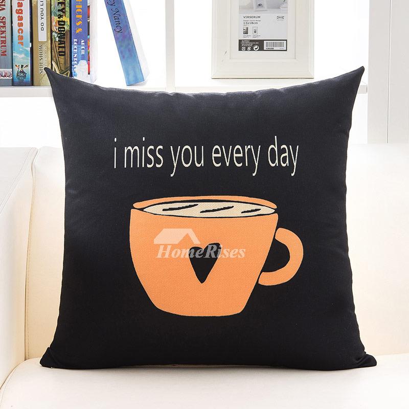 Orange Decorative Pillows Linen Black Square Cheap Pillow