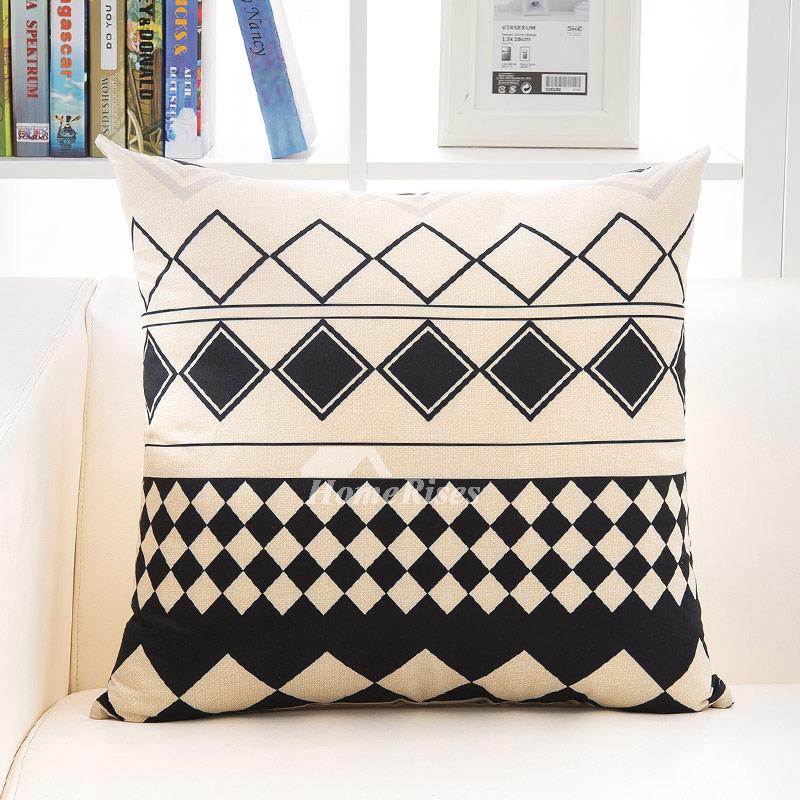 Yellow Linen Throw Pillow : Decorative Throw Pillows Yellow Black/Cream Linen (Pillow Core Not Included)