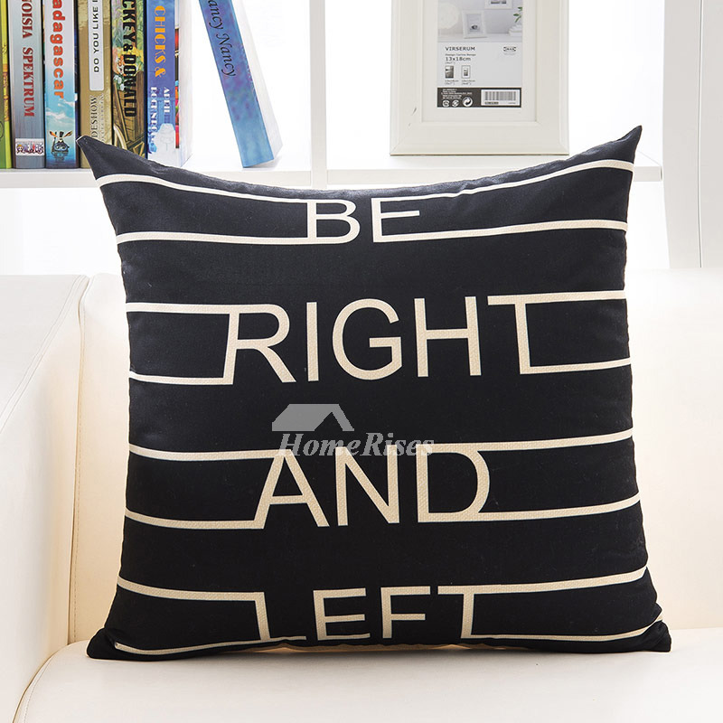 Black Decorative Pillows Cream Linen Square Modern (Pillow Core Not Included)
