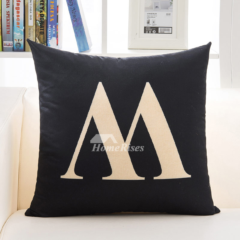 Black Decorative Pillows Cream Linen Square Modern Pillow