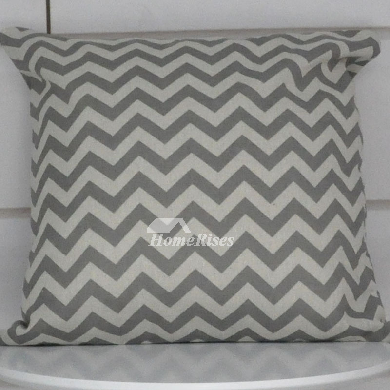 Grey Decorative Pillows Square White Linen For Sofa Black Pillow