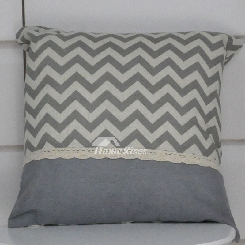 Grey Decorative Pillows Square White Linen For Sofa Black (Pillow Core Not Included)