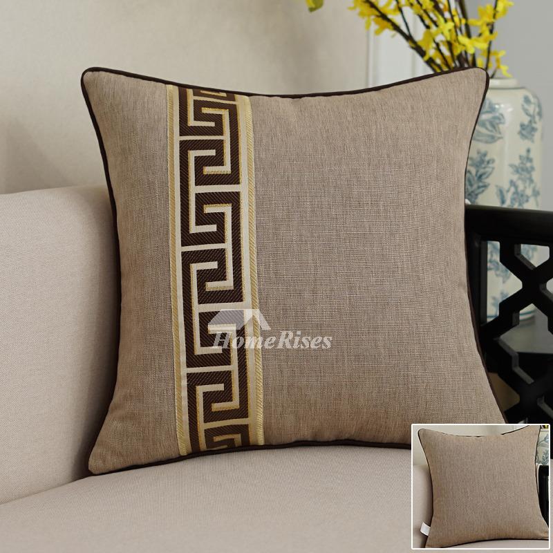 Square Brown Linen Blue Decorative Lumbar Pillows Modern (Pillow Core Not  Included)