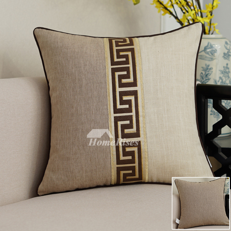 Square Brown Linen Blue Decorative Lumbar Pillows Modern Pillow Stunning Decorative Lumbar Pillows For Chairs