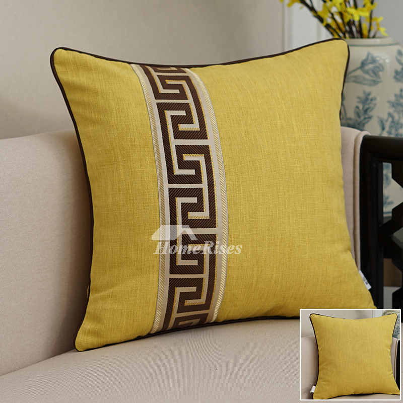 Black Decorative Pillows Yellow Linen Square Jacquard