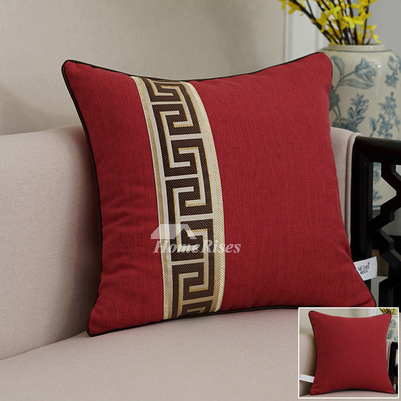 Red Decorative Pillows Green Square Colorful Linen Pillow Core Not Included