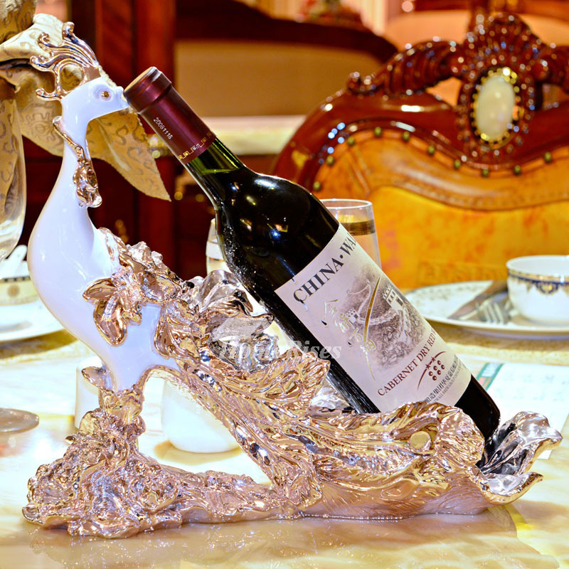 Luxury Gold Silver White Resin Carved Single Wine Bottle