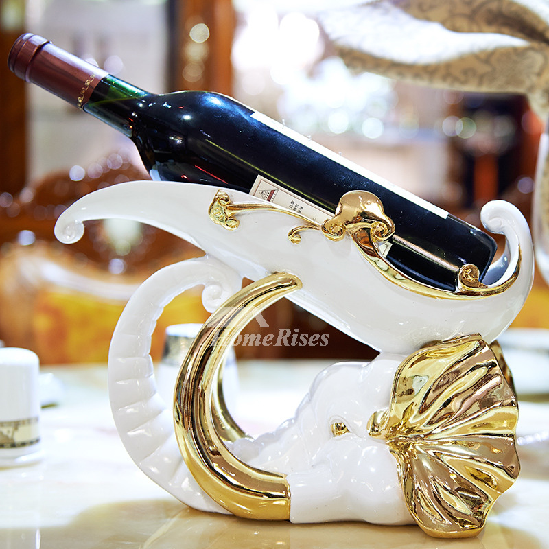 Luxury Gold/Silver/White Resin Carved Single Wine Bottle
