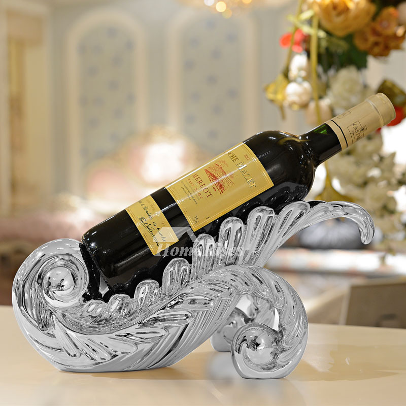 Resin Carved Free Standing Wine Bottle Holder Gold/Silver