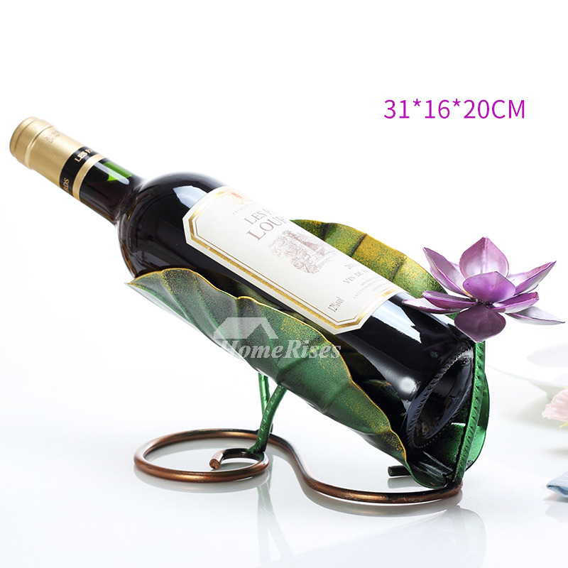Metal Wine Bottle Holder Carved Iron Unique FishFlower Decorative Delectable Decorative Wine Bottle Holders