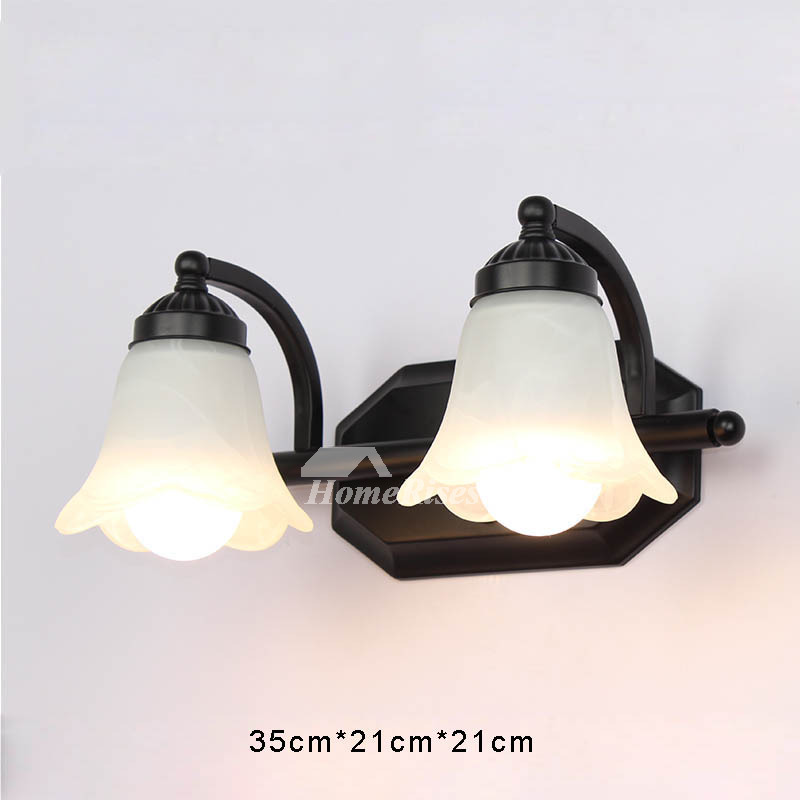 Wall sconce lights mirror front bathroom wrought iron black glass aloadofball Images