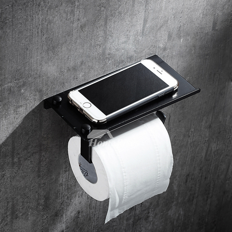 Black Toilet Paper Holder Stainless Steel Wall Mount Unique Bathroom