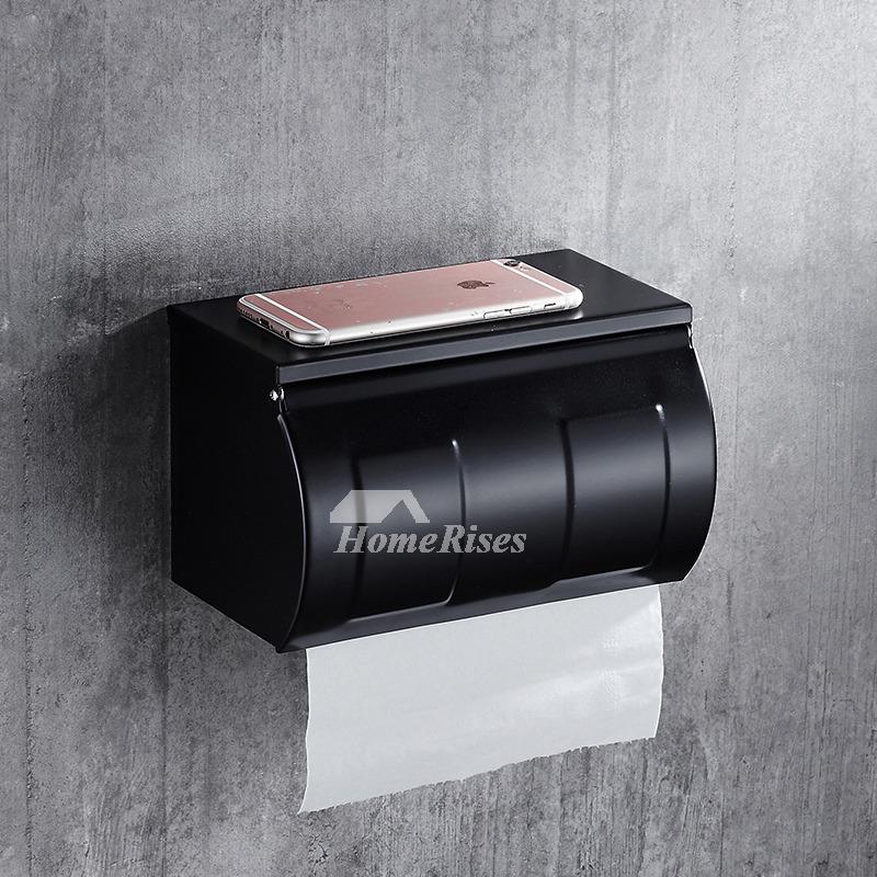 Black Toilet Paper Holder Stainless Steel Wall Mount