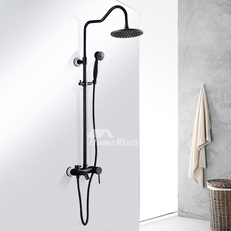 Black Shower Faucet Oil-Rubbed Bronze Wall Mount Vintage Single Handle