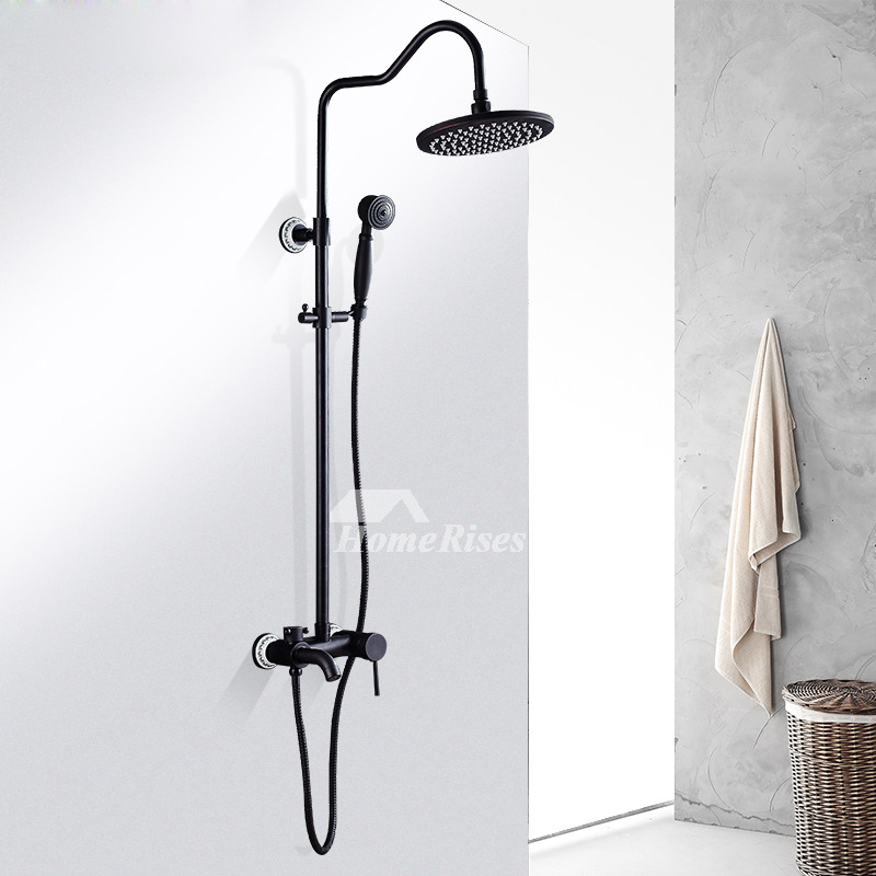 Black Shower Faucet Oil Rubbed Bronze Wall Mount Vintage Single