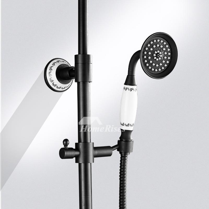 Black Shower Faucet Oil Rubbed Bronze Wall Mount Vintage Single Handle