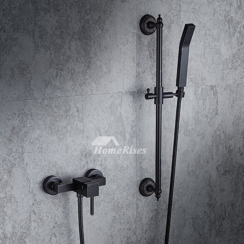 Modern Oil-Rubbed Bronze Single Handle Shower Faucet 4 Hole Black