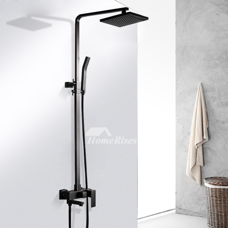 Oil Rubbed Bronze Shower Faucet Wall Mount Square Black