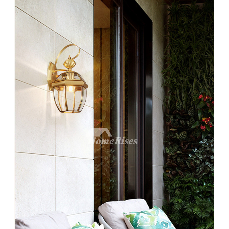 Outdoor Wall Sconce Lantern Exterior Brass Glass