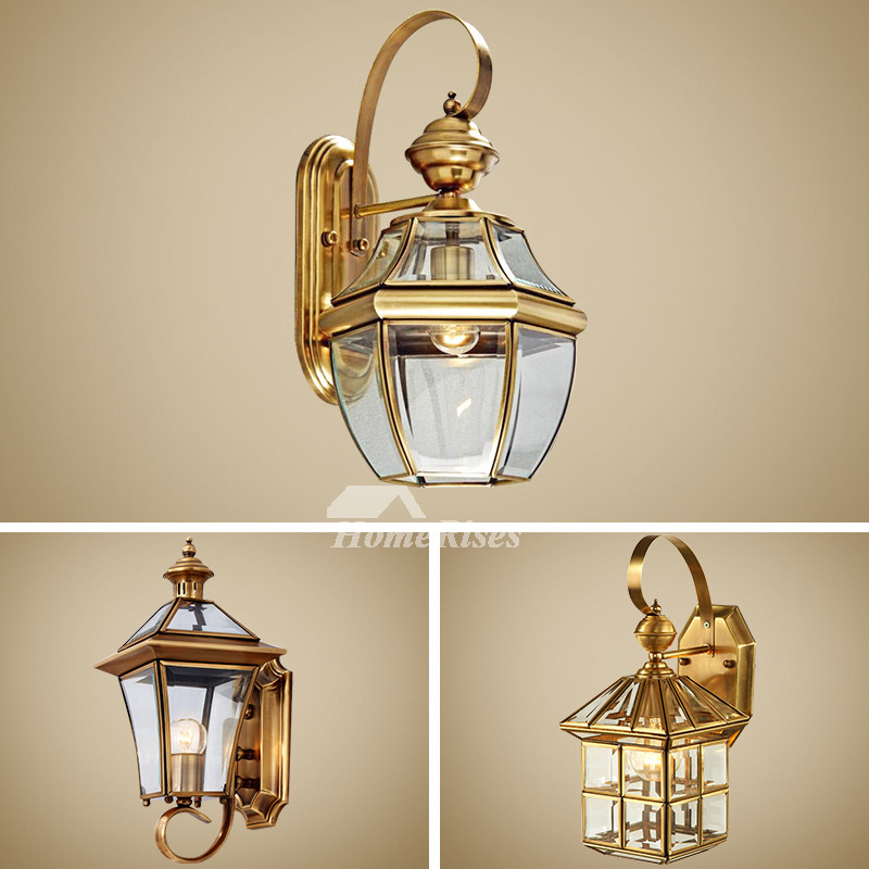 Outdoor Wall Sconce Lantern Exterior Brass Glass