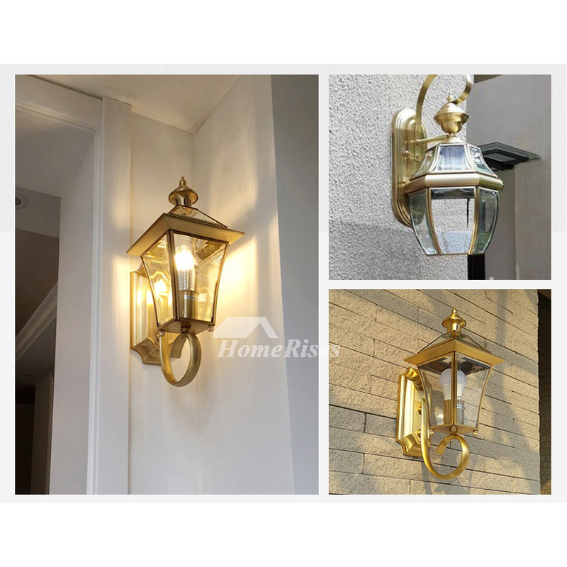 Outdoor wall sconce lantern exterior brass glass decorative lighting workwithnaturefo