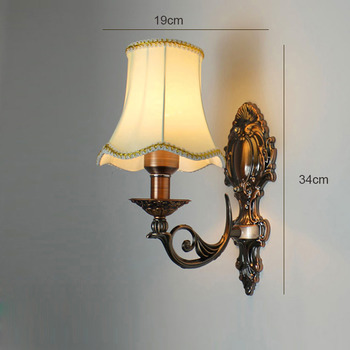 Vintage Wall Sconces Lighting Alloy Gl Fabric Shade Bedroom Unique