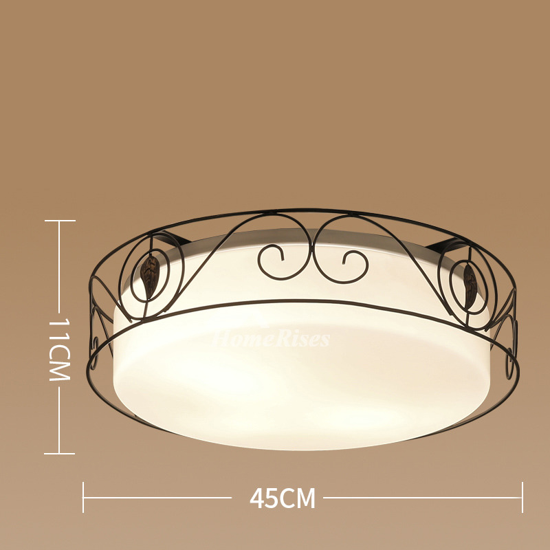 Flush Mount Ceiling Lights Wrought Iron Glass Country Bedroom Vintage