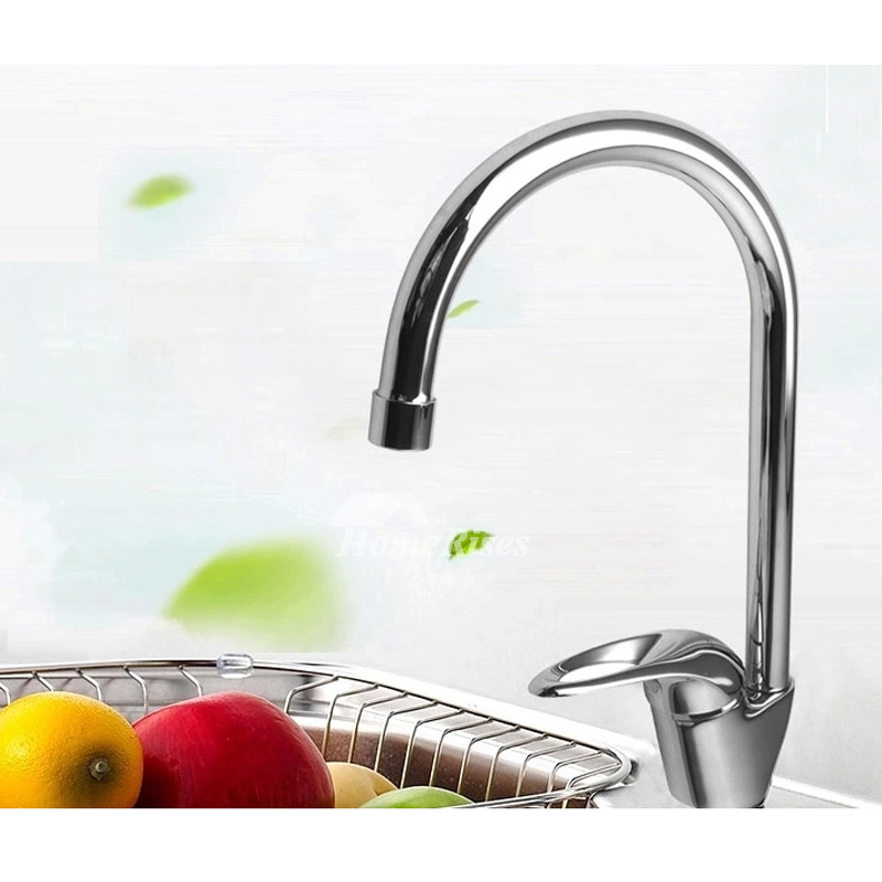 Kitchen Faucets Single Handle Brass One Hole Chrome