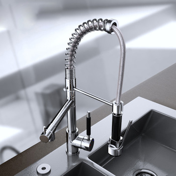 Unique Kitchen Faucets Pull Out Spray 2 Handle Silver Brass Coiled