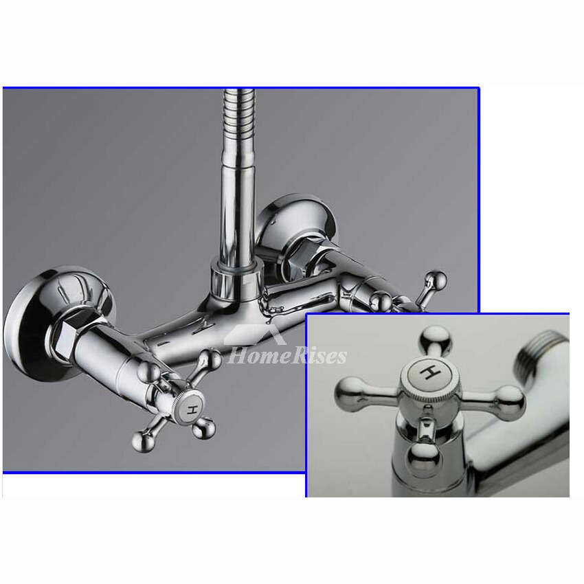 2 Hole Kitchen Faucet Cross Handle Silver Brass Wall Mount