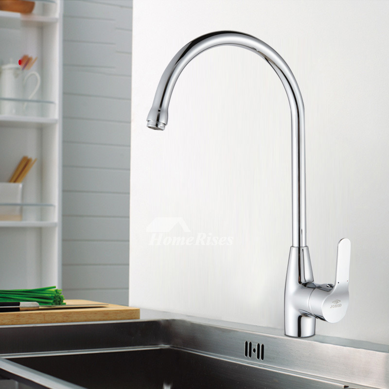High Flow Kitchen Faucet Silver Brass Chrome Single Handle