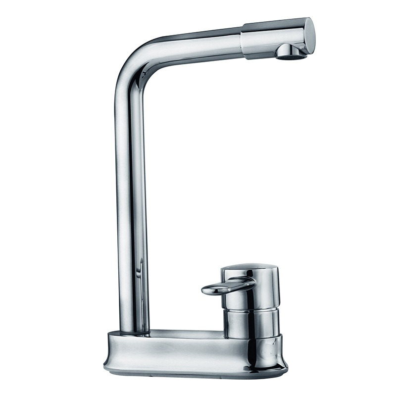 Solid Centerset Silver 2 Hole Kitchen Faucet Chrome Brass Quality
